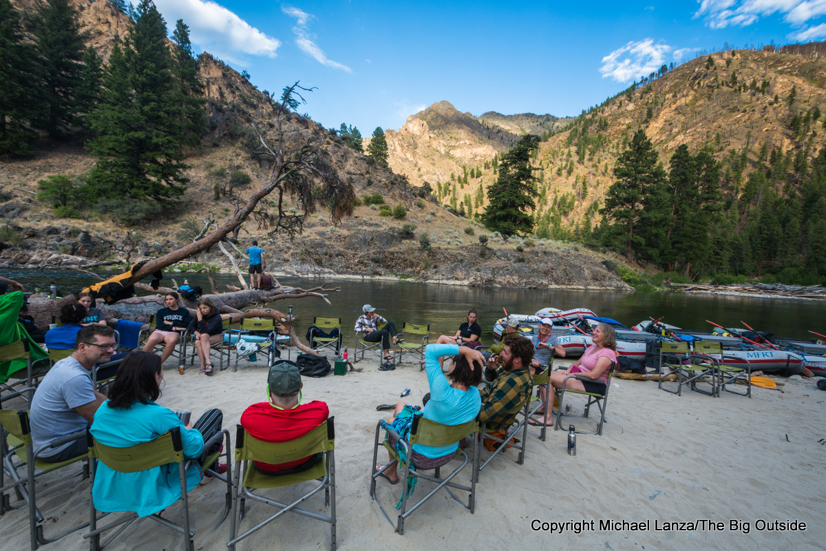 Rafters in Whitie Cox camp on Idaho's Middle Fork Salmon River.