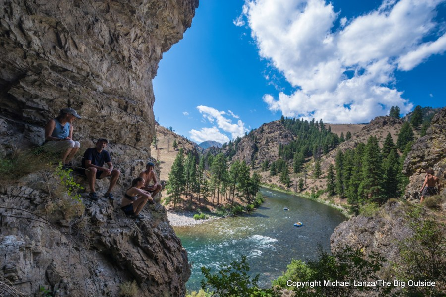 Hikers in an alcove above Idaho's Middle Fork Salmon River.