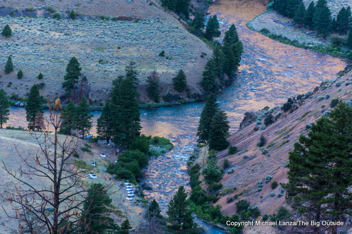 A campsite at Camas Creek on Idaho's Middle Fork Salmon River.