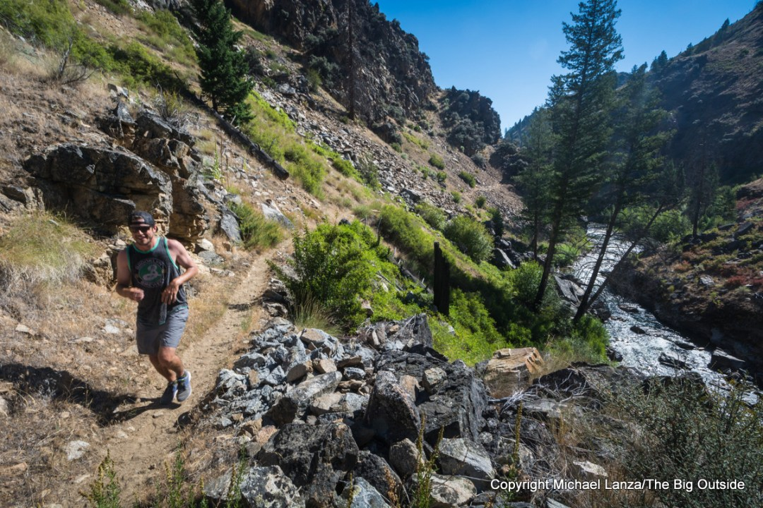 A trail runner on the Camas Creek Trail.