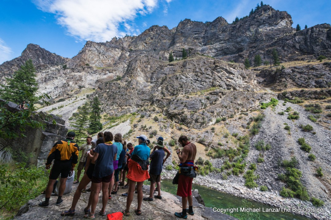 Hikers in the canyon of Idaho's Middle Fork Salmon River.