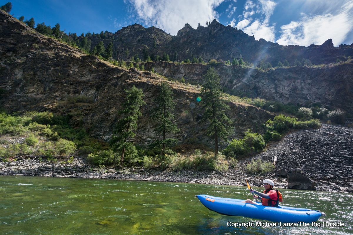 A kayaker in a ducky on Idaho's Middle Fork Salmon River.