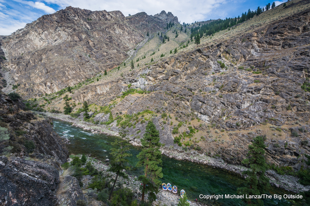 Rafts tied up on Idaho's Middle Fork Salmon River.