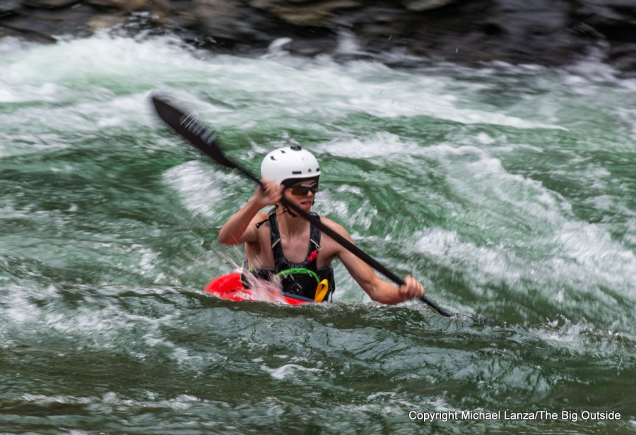 A kayaker in Cliffside Rapid on Idaho's Middle Fork Salmon River.