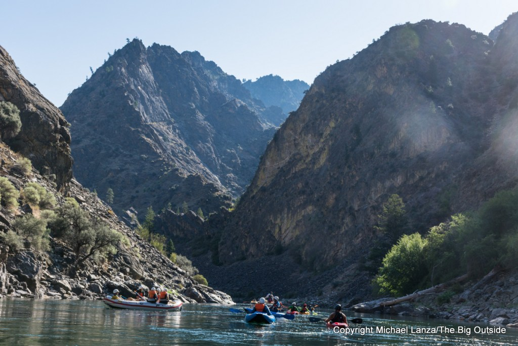 Rafters and kayakers on the Middle Fork Salmon River, Idaho.