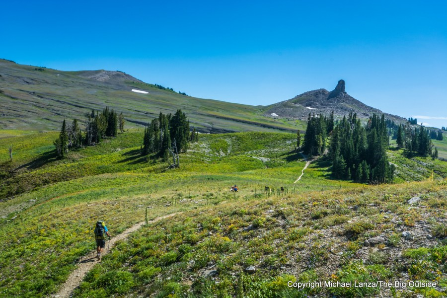 A backpacker hiking to Fox Creek Pass, Grand Teton National Park.