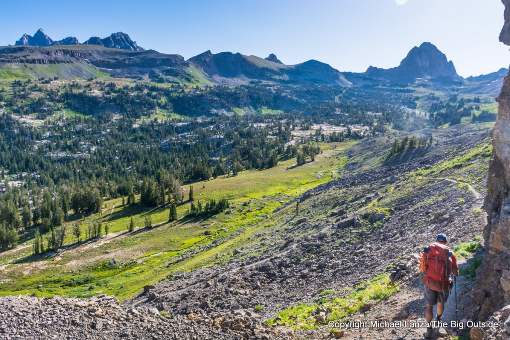A backpacker above Alaska Basin on the Teton Crest Trail..