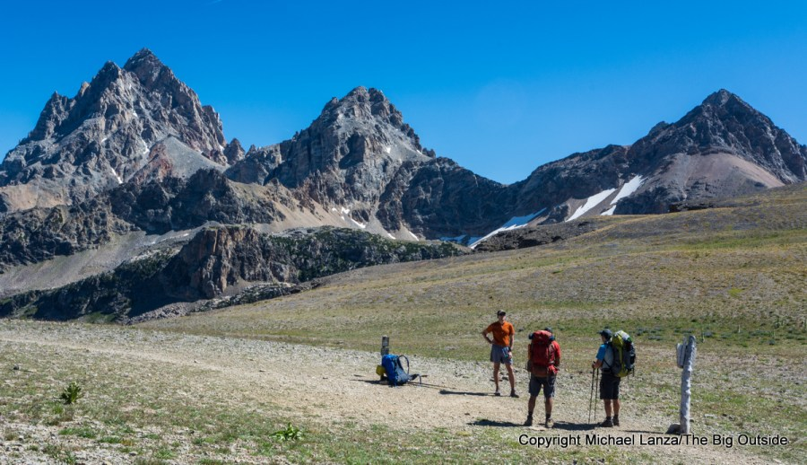 Backpackers at Hurricane Pass on the Teton Crest Trail, Grand Teton National Park.