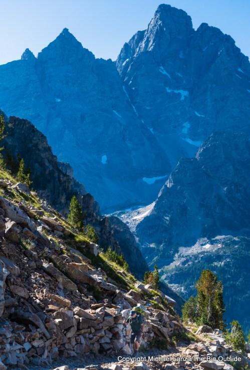 A backpacker on the Teton Crest Trail, Grand Teton National Park.