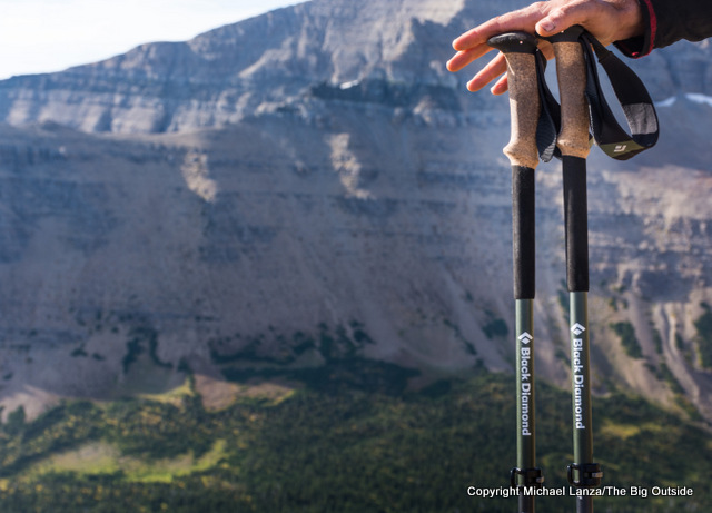 Black Diamond Alpine Carbon Cork four-season trekking poles.