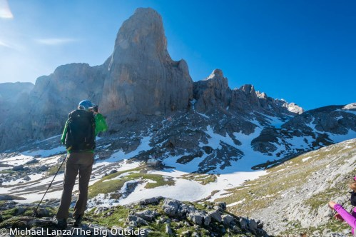 A hiker in Spain's Picos de Europa Mountains.