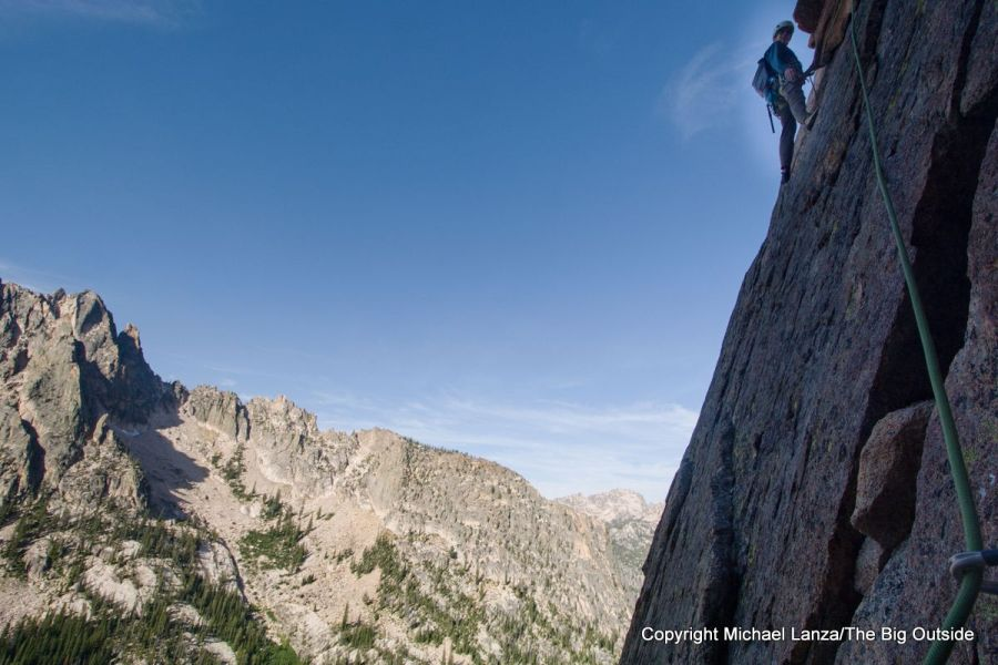 A rock climber high up the Elephant's Perch in Idaho's Sawtooth Mountains.