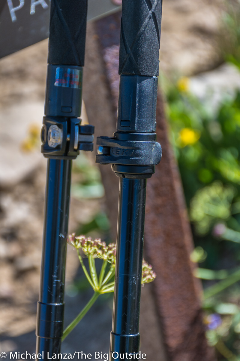 Leki Micro Vario Carbon Black Series trekking poles locking levers.