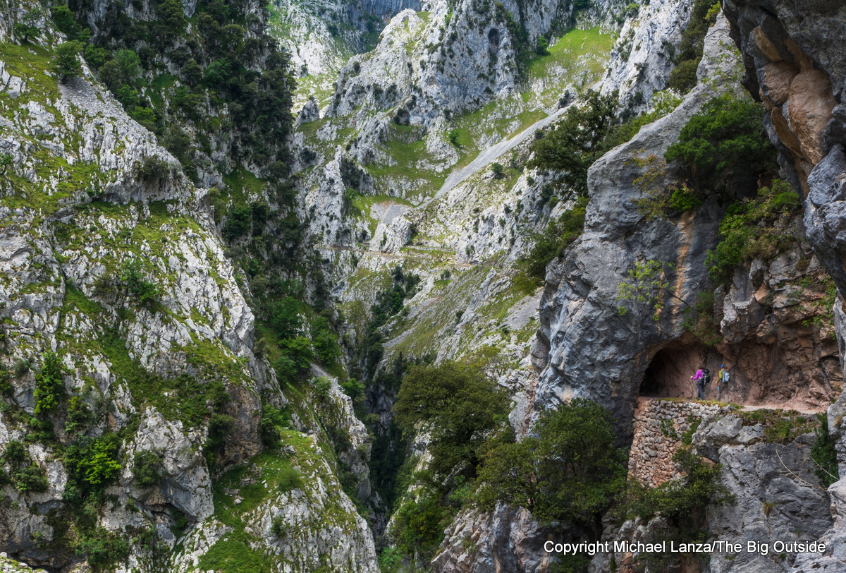 Hikers in the Cares Gorge in Spain's Picos de Europa National Park.