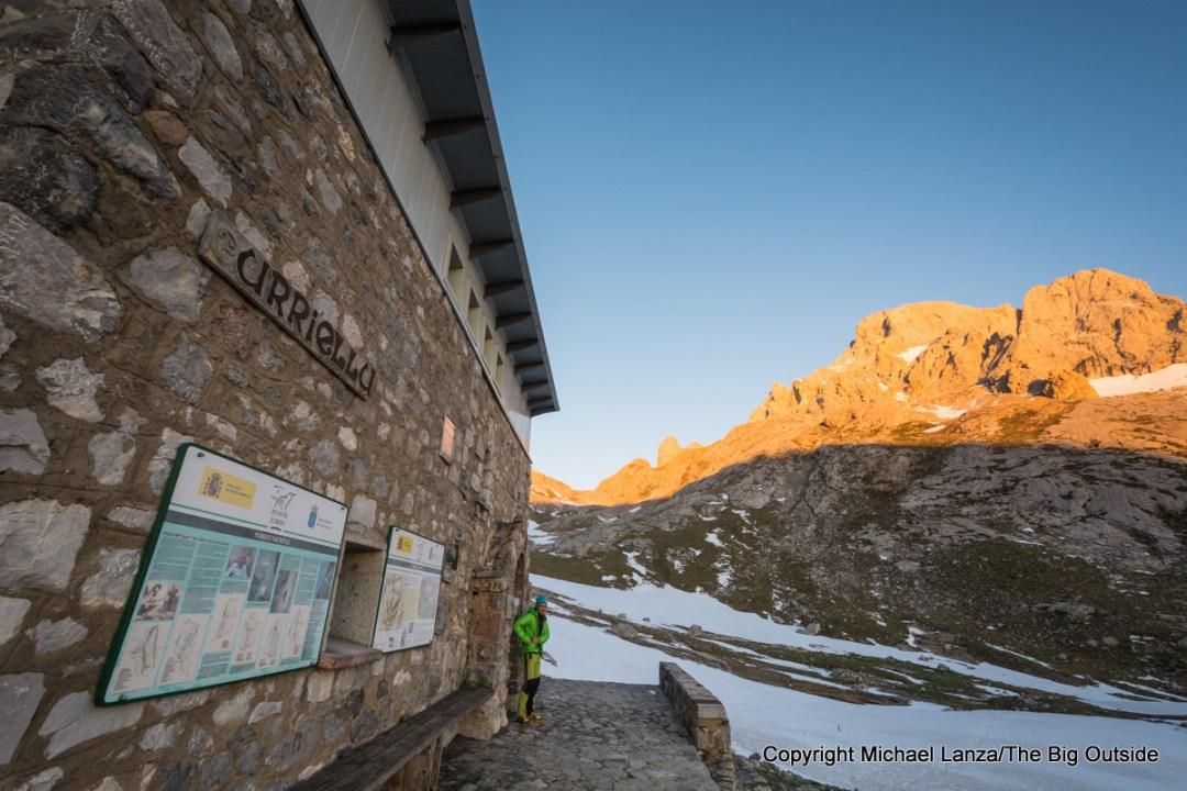 The view at dawn outside the Refugio Vega de Urriellu in Spain's Picos de Europa National Park.