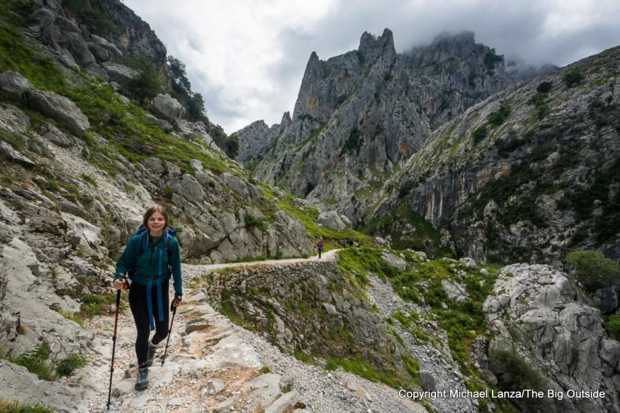 A hiker in the Cares Gorge, Picos de Europa National Park, Spain.
