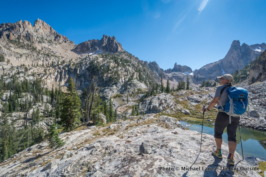 A hiker in Idaho's Sawtooth Mountains.