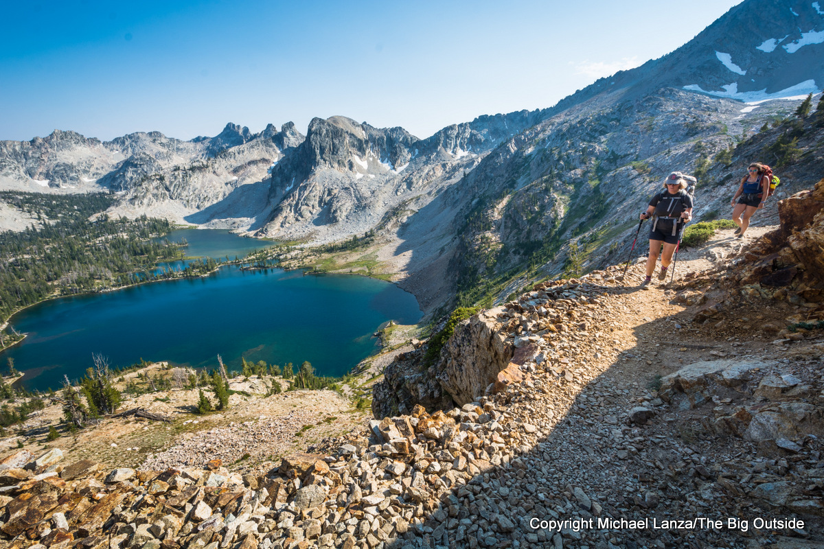 Backpackers high above Twin Lakes in Idaho's Sawtooth Mountains.
