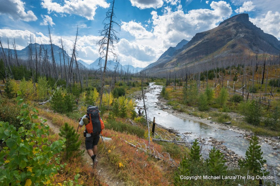 A backpacker on the Continental Divide Trail in Glacier National Park.