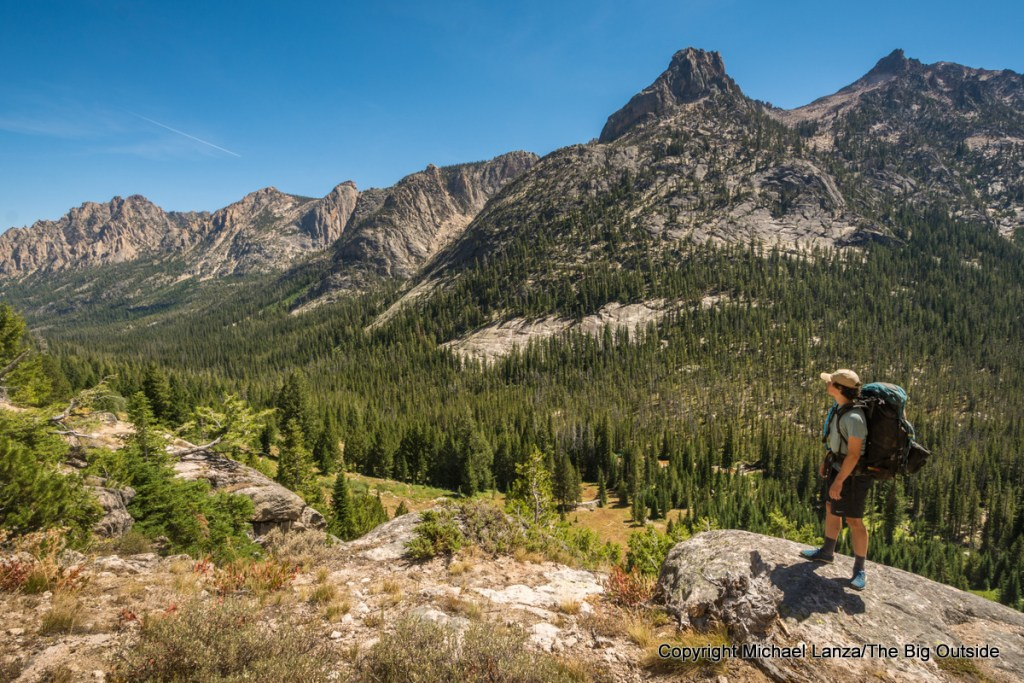 A backpacker in the Redfish Valley of Idaho's Sawtooth Mountains.