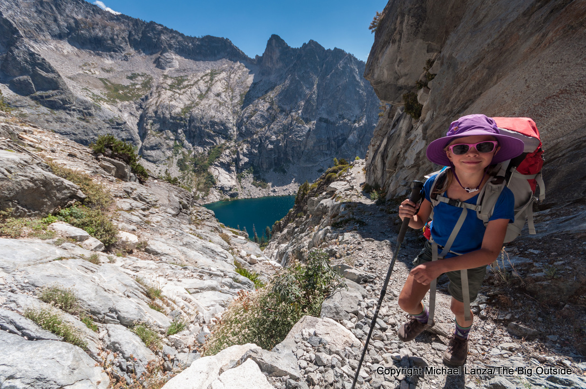 A young girl backpacking the High Sierra Trail above Hamilton Lakes, Sequoia National Park.
