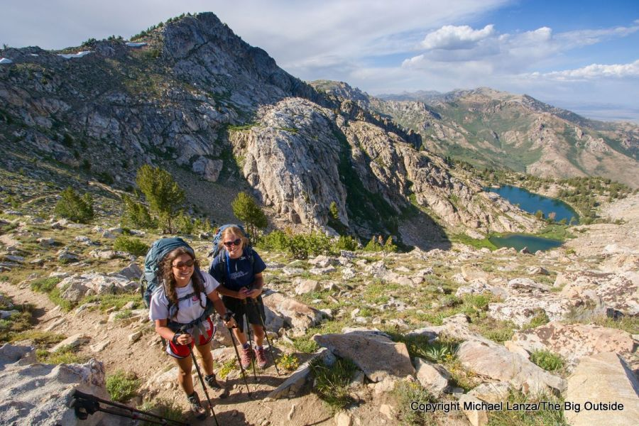 Two teenage girls on a backpacking trip on Nevada's Ruby Crest Trail.