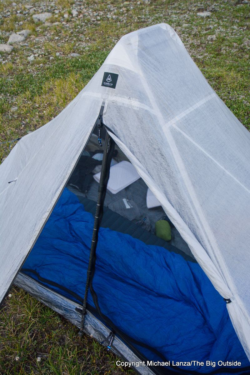 The Hyperlite Mountain Gear Dirigo 2 ultralight backpacking tent vestibule open.