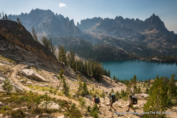 Backpackers above the Baron Lakes in Idaho's Sawtooth Mountains.
