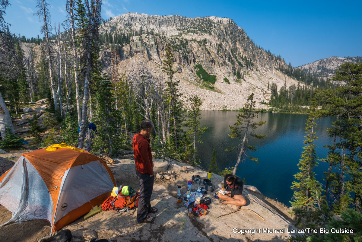 Campsite between Upper and Middle Cramer Lakes, Sawtooth Mountains, Idaho.
