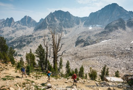 Backpackers on Trail 154 to Cramer Divide in Idaho's Sawtooth Mountains.