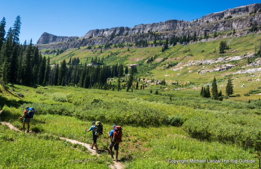 Backpackers in Death Canyon, Grand Teton National Park.