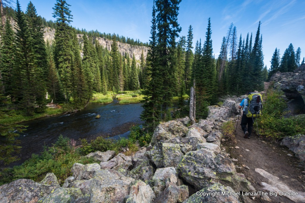 Jeff Wilhelm backpacking the Bechler River Trail, Yellowstone National Park.