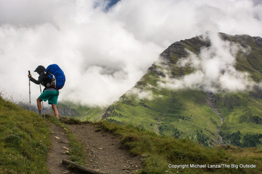 A trekker on the Tour du Mont Blanc in Italy.