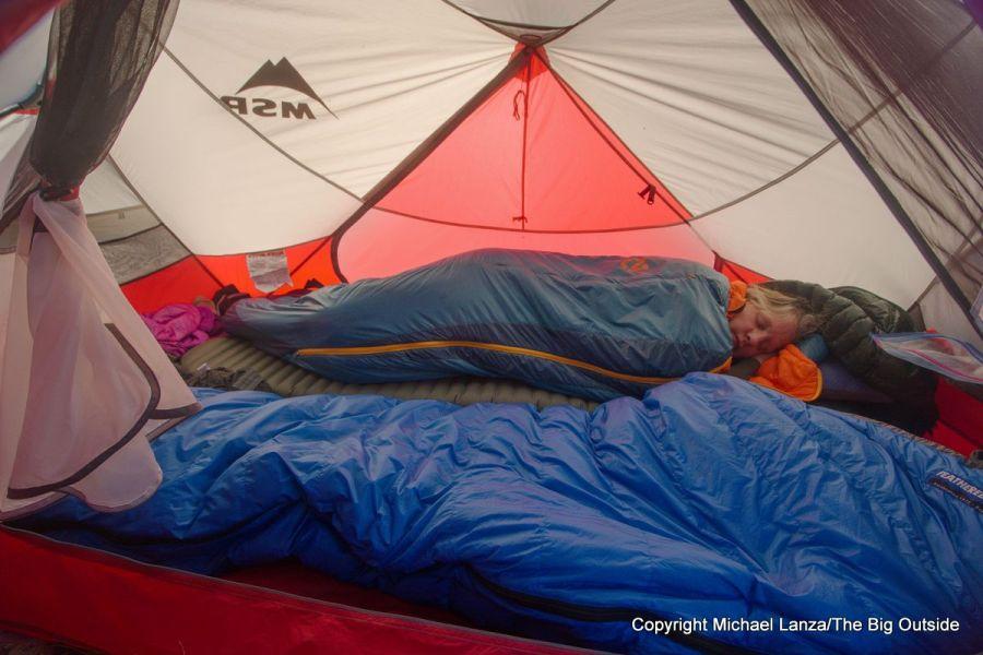 The MSR Hubba Hubba NX 2-person tent interior.