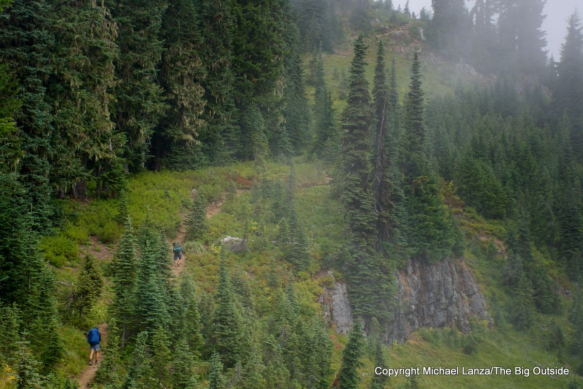 Backpackers on the Wonderland Trail south of Indian Bar, Mount Rainier National Park.