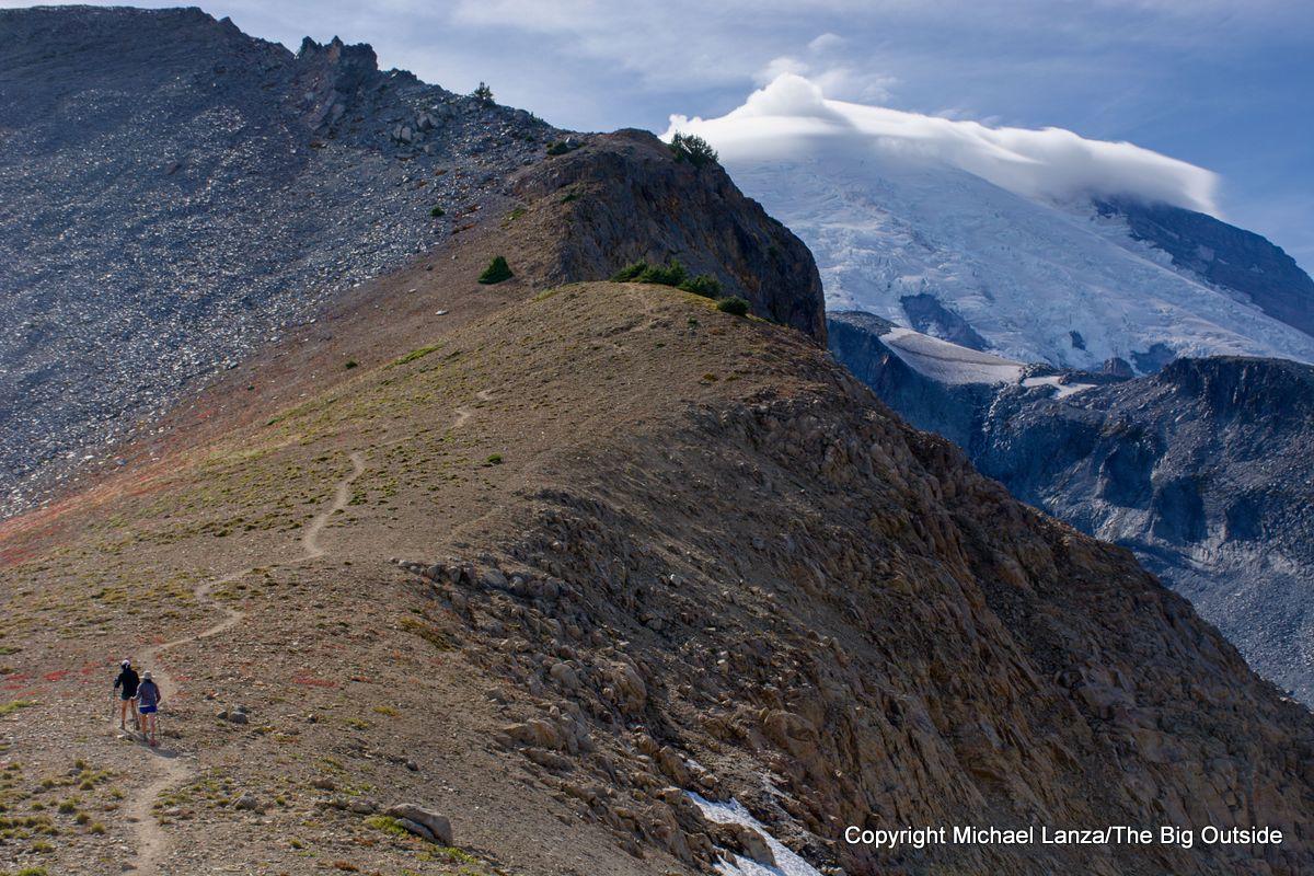 Hikers at Panhandle Gap on the Wonderland Trail, Mount Rainier National Park.