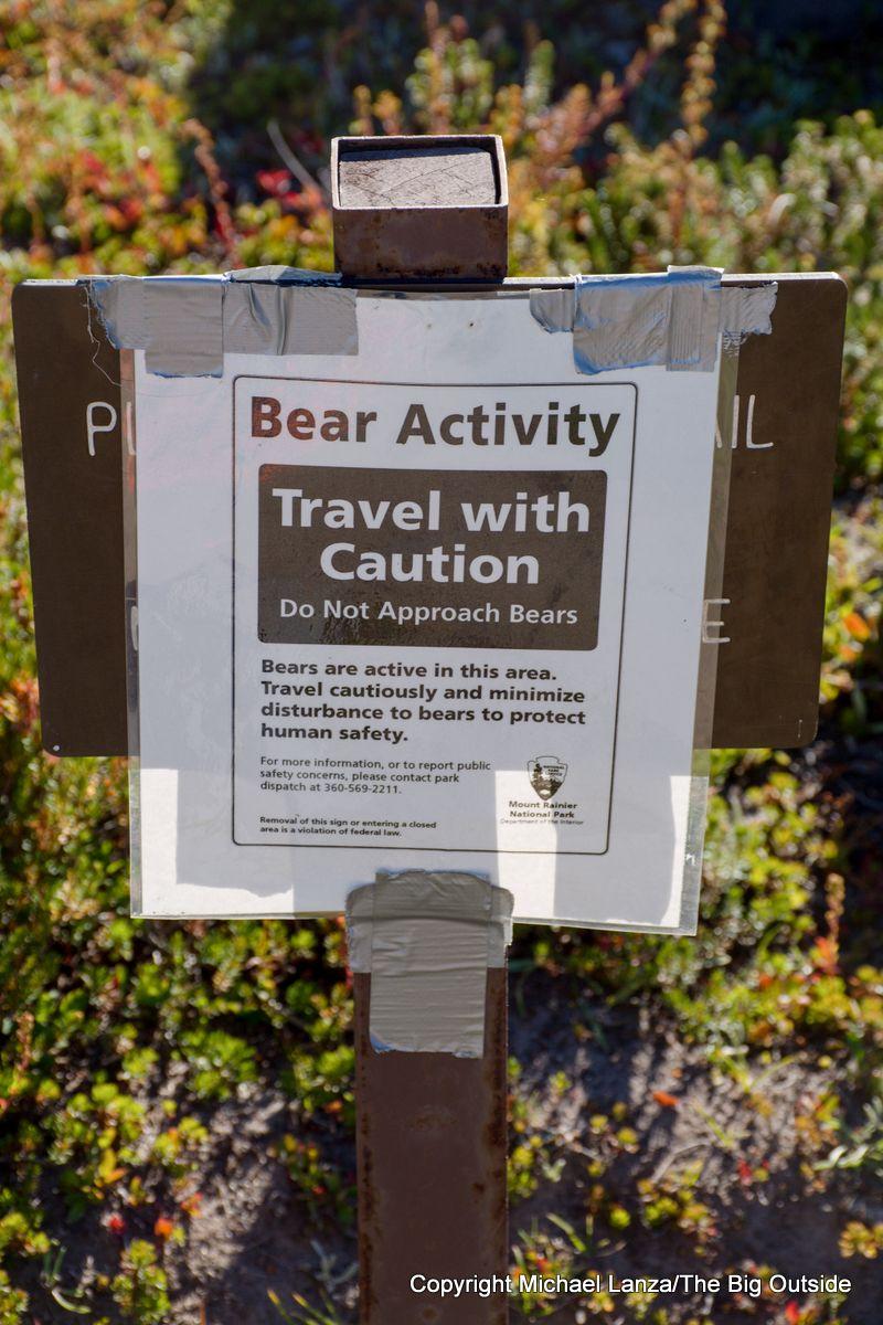 Bear warning sign in Summerland on the Wonderland Trail, Mount Rainier National Park.