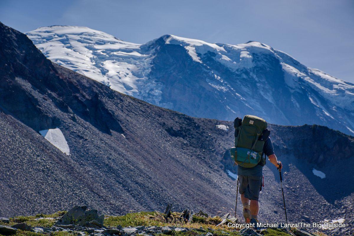 A backpacker on the Wonderland Trail, Mount Rainier National Park.