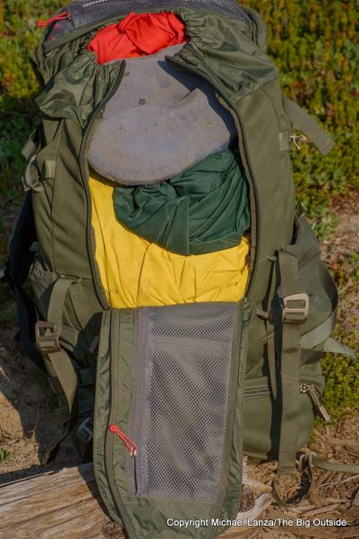 Osprey Archeon 70 zippered front panel.