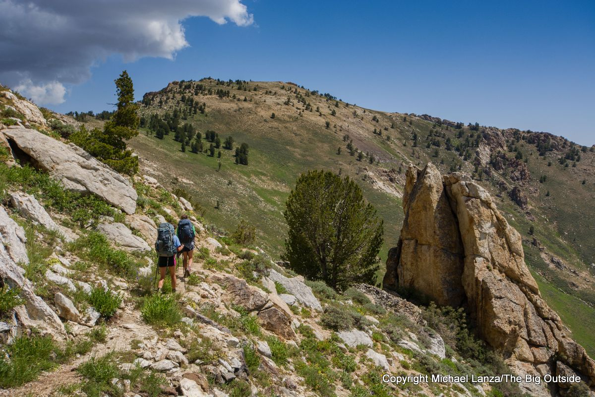 Teenage girls backpacking the Ruby Crest Trail.
