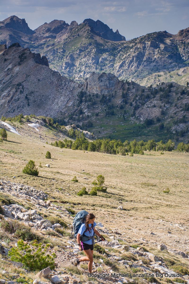 A teenage girl backpacking the Ruby Crest Trail, Ruby Mountains, Nevada.