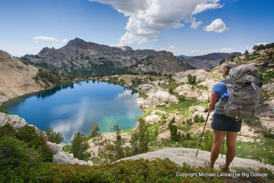 A backpacker above Liberty Lake on the Ruby Crest Trail, Ruby Mountains, Nevada.