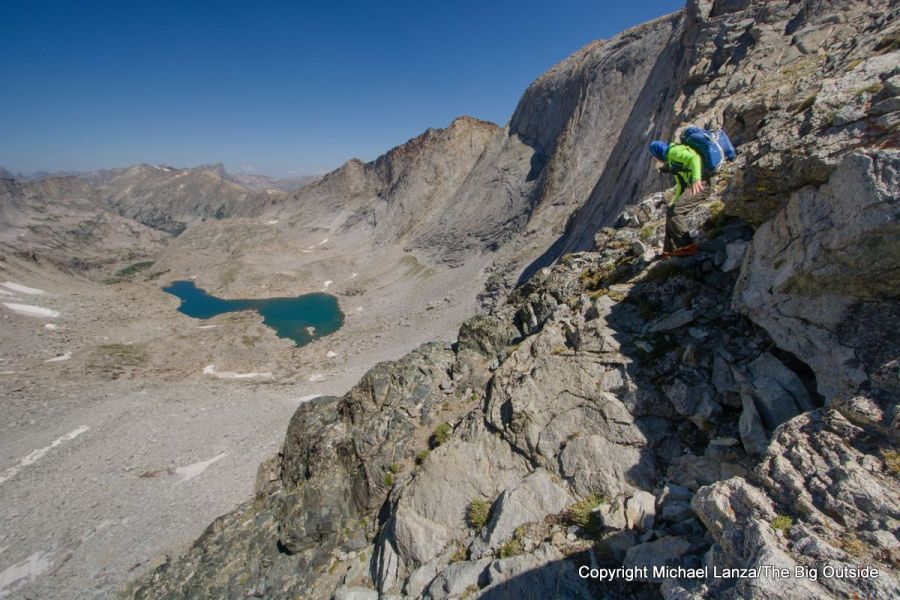 A backpacker descending West Gully off Wind River Peak on the Wind River High Route.