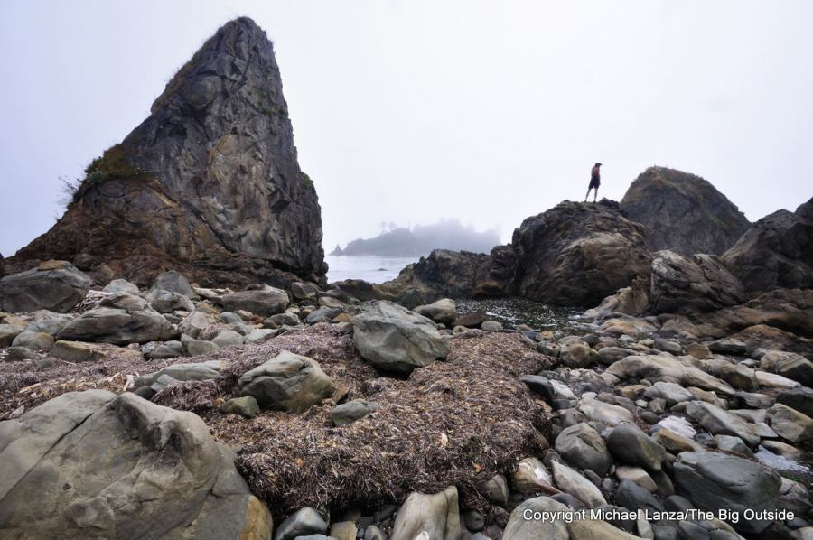 A backpacker at Toleak Point on the coast of Olympic National Park.