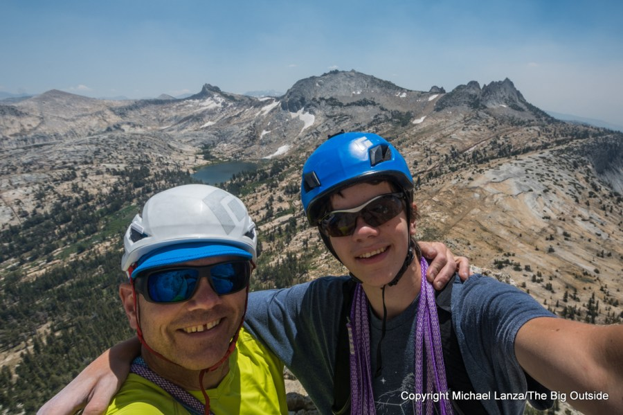 Michael Lanza of The Big Outside and his 17-year-old son, Nate, rock climbing Cathedral Peak in Yosemite National Park.