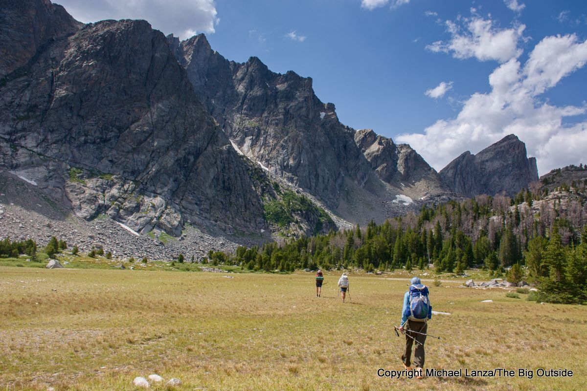 Backpackers in the East Fork Valley on the Wind River High Route.