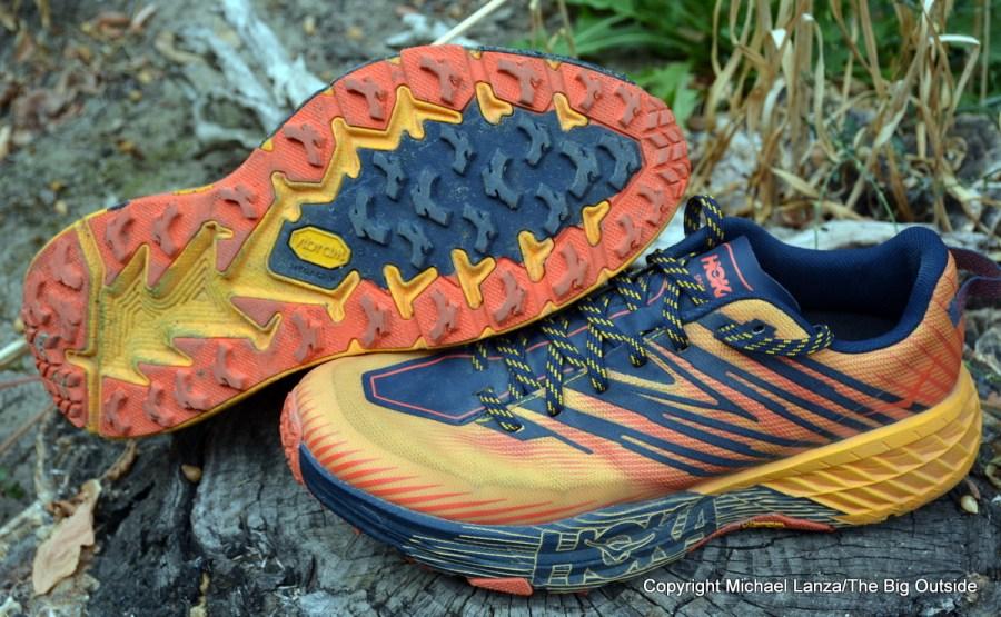 Hoka One One Speedgoat 4 trail-running shoes.