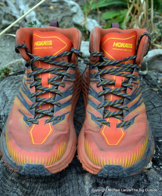 The Hoka One One Speedgoat Mid 2 GTX shoes.