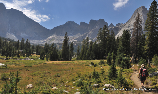 A hiker on the North Fork Trail in the Wind River Range.