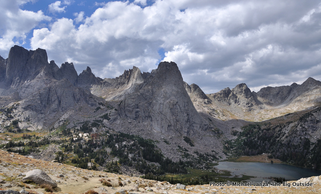 Hikers in the Cirque of the Towers, Wind River Range.